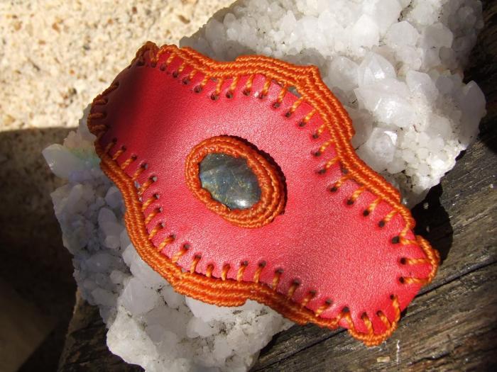 Bracelet cuir avec spectrolite