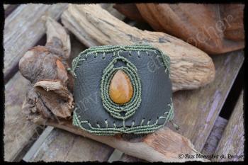 Bracelet cuir quartz jaune