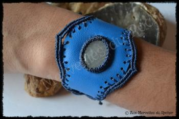 Bracelet cuir quartz rutile porte