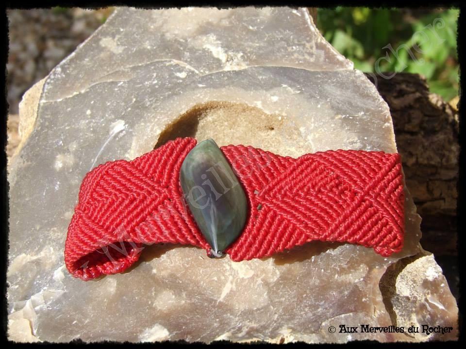 Bracelet k-rés obsidienne manto huichol- oeil céleste