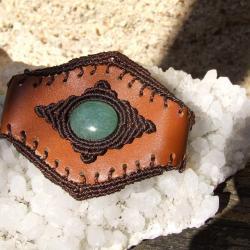 Bracelet cuir avec aventurine