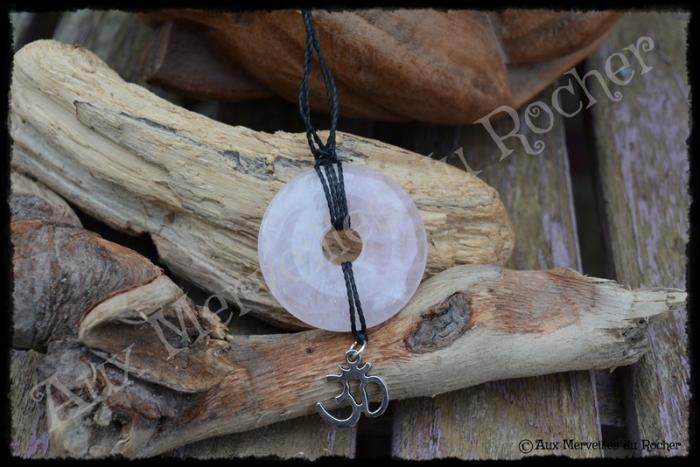 Pendentif donut quartz rose