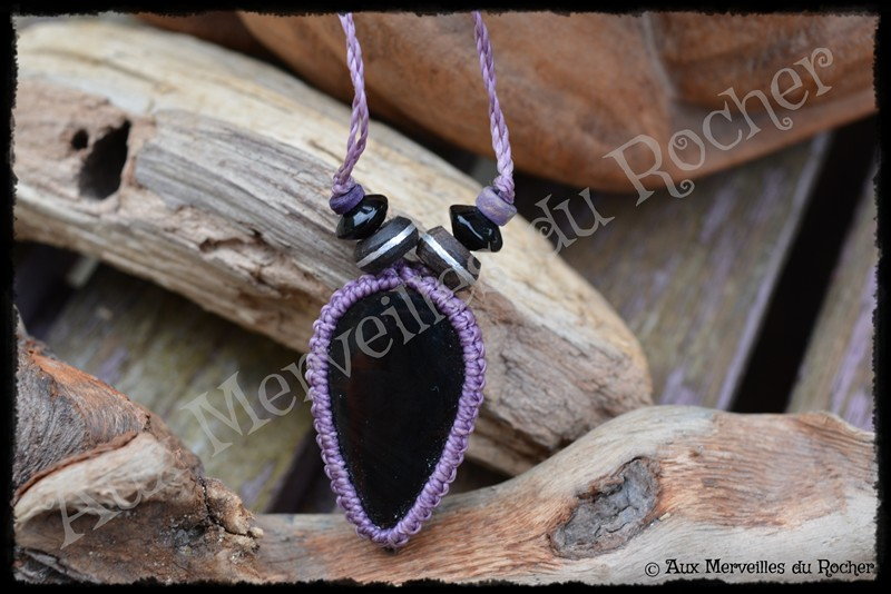 Pendentif simple obsidienne