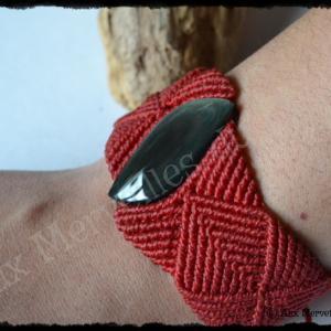 Bracelet k res obsidienne manto huichol porte