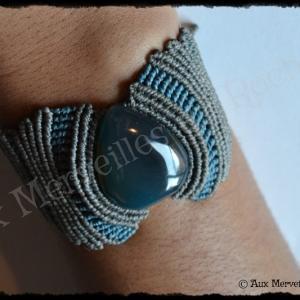 Bracelet vagues agate bleue porte