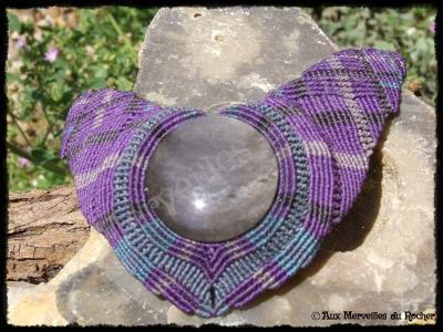 Collier plastron obsidienne argentee 1
