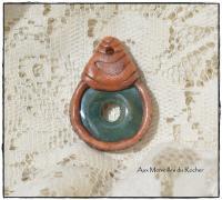 Pendentif polymère et donut de Jaspe Héliotrope