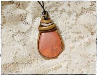 Pendentif polymère et Jaspe orange