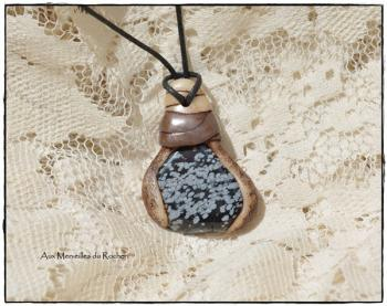 Pendentif polymere obsidienne flocon