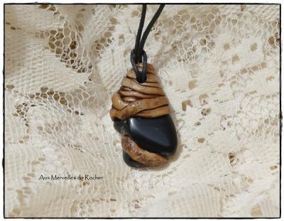 Pendentif polymère et Obsidienne